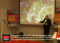 Oeuvre de Betty DE RUS, peintre abstraite. Commentaires et analyse du style, Antoine Antolini, critique d'art, Monaco 2019.